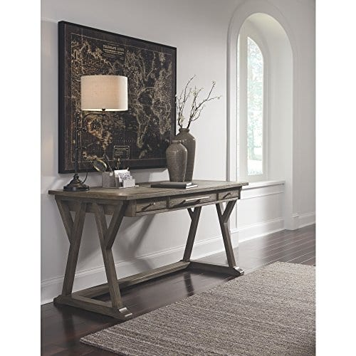 Ashley Furniture Signature Design Luxenford Large Home Office Desk Casual 3 DrawersFaux Bluestone Inset Top Grayish Brown Finish Brushed Nickel Hardware 0 0