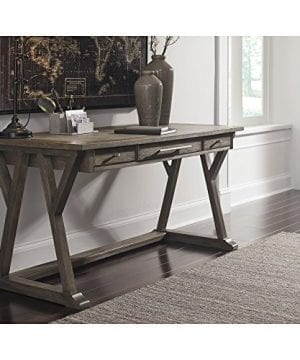 Ashley Furniture Signature Design Luxenford Large Home Office Desk Casual 3 DrawersFaux Bluestone Inset Top Grayish Brown Finish Brushed Nickel Hardware 0 1 300x360