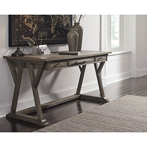 Ashley Furniture Signature Design Luxenford Large Home Office Desk Casual 3 DrawersFaux Bluestone Inset Top Grayish Brown Finish Brushed Nickel Hardware 0 1