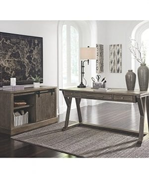 Ashley Furniture Signature Design Luxenford Large Home Office Desk Casual 3 DrawersFaux Bluestone Inset Top Grayish Brown Finish Brushed Nickel Hardware 0 2 300x360