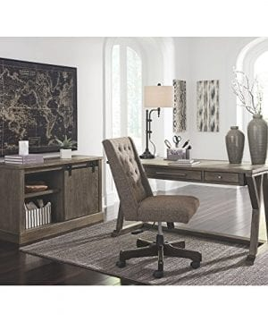 Ashley Furniture Signature Design Luxenford Large Home Office Desk Casual 3 DrawersFaux Bluestone Inset Top Grayish Brown Finish Brushed Nickel Hardware 0 3 300x360