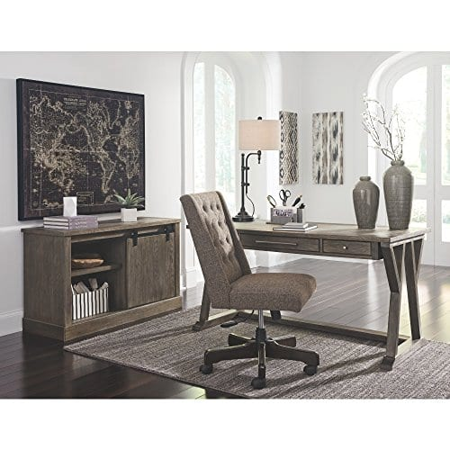 Ashley Furniture Signature Design Luxenford Large Home Office Desk Casual 3 DrawersFaux Bluestone Inset Top Grayish Brown Finish Brushed Nickel Hardware 0 3
