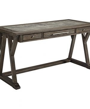 Ashley Furniture Signature Design Luxenford Large Home Office Desk Casual 3 DrawersFaux Bluestone Inset Top Grayish Brown Finish Brushed Nickel Hardware 0 300x360