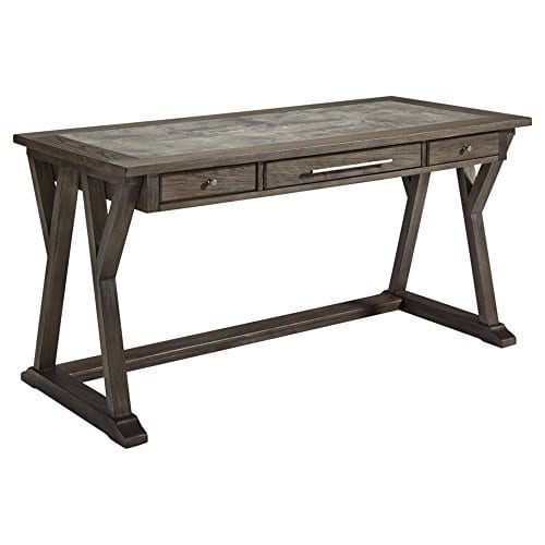 Ashley Furniture Signature Design Luxenford Large Home Office Desk Casual 3 DrawersFaux Bluestone Inset Top Grayish Brown Finish Brushed Nickel Hardware 0