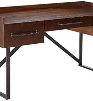 Ashley Furniture Signature Design Starmore Home Office Desk 3 Drawers W Dovetail Construction Dark Bronze Tubular Metal Contemporary Dark Brown Rustic Finish 0 300x327