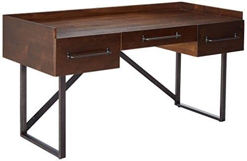 Ashley Furniture Signature Design Starmore Home Office Desk 3 Drawers W Dovetail Construction Dark Bronze Tubular Metal Contemporary