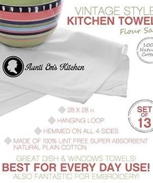 Aunti Ems Kitchen Vintage Flour Sack Kitchen Dish Towels Commercial Restaurant Grade Weave Cloth 100 Natural Cotton 27 X 27 Bakers Dozen Set Of 13 White 0 0 300x360