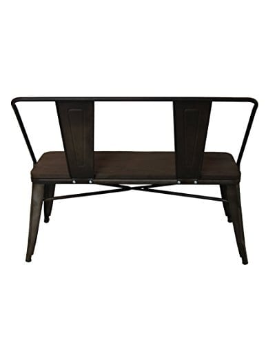 Strange Btexpert Industrial Antique Copper Rustic Steel Frame Distressed Metal Dining Bench With Full Back Wood Seat Bronze Patio Garden Onthecornerstone Fun Painted Chair Ideas Images Onthecornerstoneorg