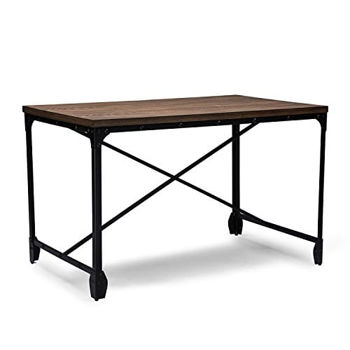 Baxton Studio Wholesale Interiors Greyson Vintage Industrial Home Office Wood Desk Antique Bronze 0 1