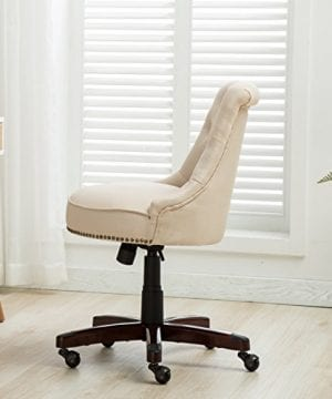 Belleze Elegant Classic Button Tuft Adjustable Height Swivel And Tilt Nail Head Trim With Linen Caster Wheels 0 1 300x360