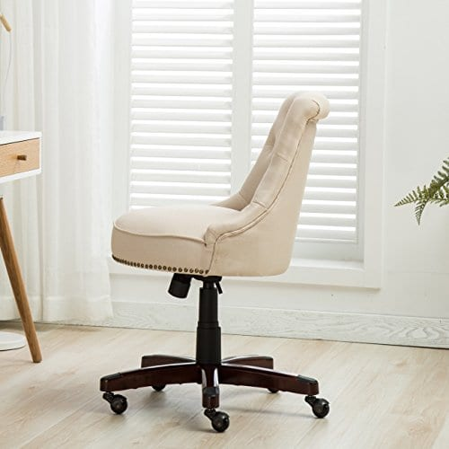 Belleze Elegant Classic Button Tuft Adjustable Height Swivel And Tilt Nail Head Trim With Linen Caster Wheels 0 1