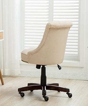 Belleze Elegant Classic Button Tuft Adjustable Height Swivel And Tilt Nail Head Trim With Linen Caster Wheels 0 2 300x360