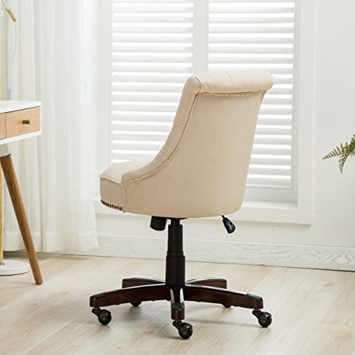 Belleze Elegant Classic Button Tuft Adjustable Height Swivel And Tilt Nail Head Trim With Linen Caster Wheels 0 2