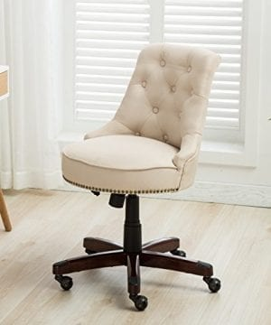 Belleze Elegant Classic Button Tuft Adjustable Height Swivel And Tilt Nail Head Trim With Linen Caster Wheels 0 300x360