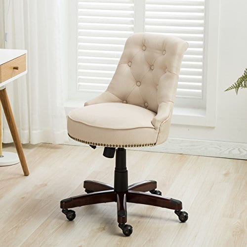 Belleze Office Chair Tufted Beige Mid Back Height Adjustable Desk Ergonomic Tilt Swivel Task Computer W Wooden Leg Farmhouse Goals