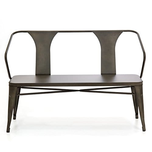 Best Choice Products 2 Person Industrial Vintage Metal Bench For Indoor And Outdoor Espresso 0 0