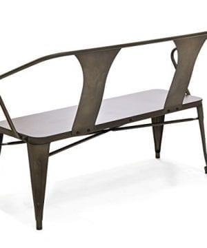 Best Choice Products 2 Person Industrial Vintage Metal Bench For Indoor And Outdoor Espresso 0 1 300x360
