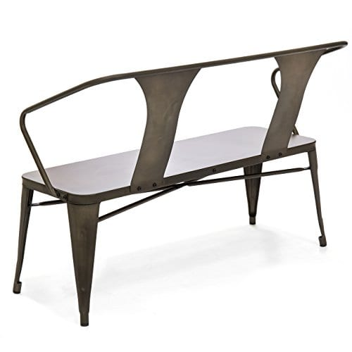 Best Choice Products 2 Person Industrial Vintage Metal Bench For Indoor And Outdoor Espresso 0 1