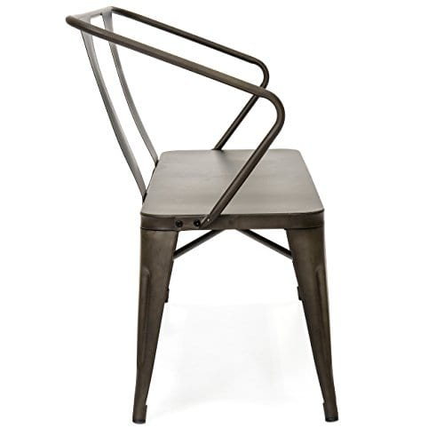 Best Choice Products 2 Person Industrial Vintage Metal Bench For Indoor And Outdoor Espresso 0 2