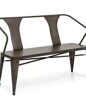 Best Choice Products 2 Person Industrial Vintage Metal Bench For Indoor And Outdoor Espresso 0 300x360