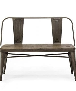 Best Choice Products Mid Century Industrial Metal Dining Bench WWood Seat Floor Protectors Espresso 0 0 300x360