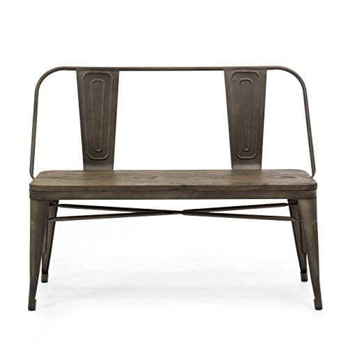Best Choice Products Mid Century Industrial Metal Dining Bench WWood Seat Floor Protectors Espresso 0 0
