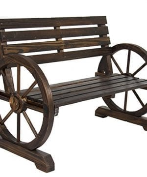 Best Choice Products Patio Garden Wooden Wagon Wheel Bench Rustic Wood Design Outdoor Furniture 0 0 300x360