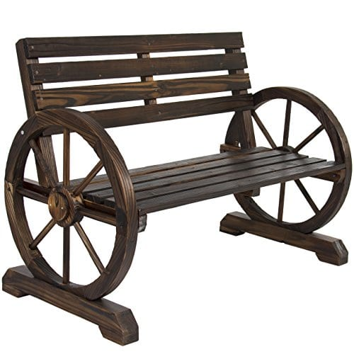 Best Choice Products Patio Garden Wooden Wagon Wheel Bench Rustic Wood Design Outdoor Furniture 0 0