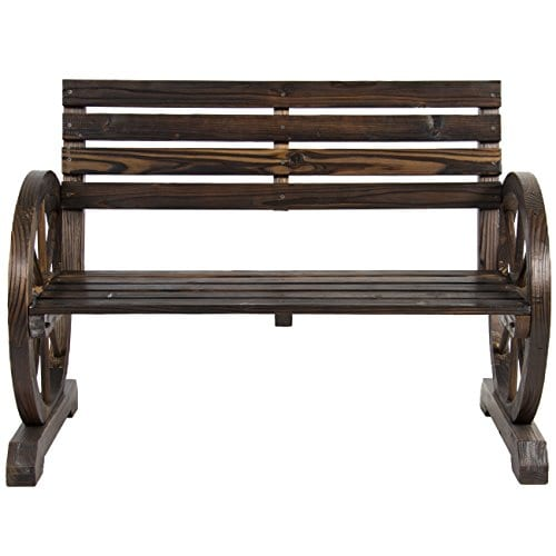 Best Choice Products Patio Garden Wooden Wagon Wheel Bench Rustic Wood Design Outdoor Furniture 0 1