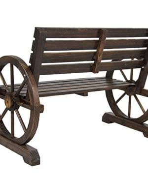 Best Choice Products Patio Garden Wooden Wagon Wheel Bench Rustic Wood Design Outdoor Furniture 0 2 300x360