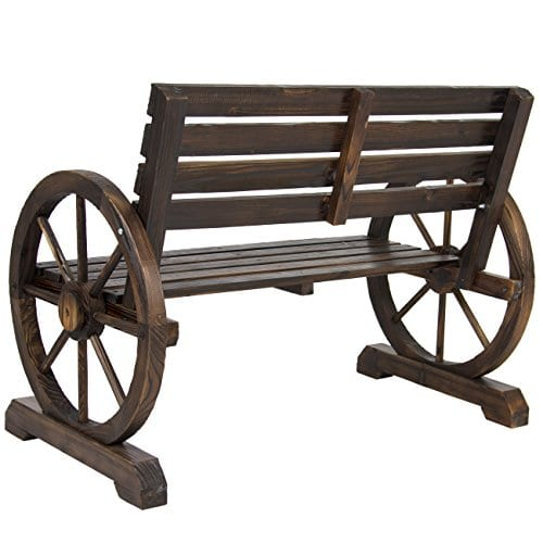 Best Choice Products Patio Garden Wooden Wagon Wheel Bench Rustic Wood Design Outdoor Furniture 0 2