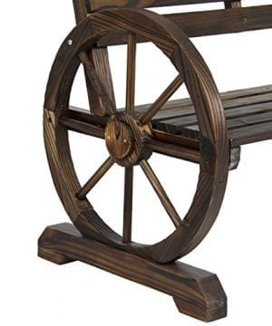 Best Choice Products Patio Garden Wooden Wagon Wheel Bench Rustic Wood Design Outdoor Furniture 0 3 300x360
