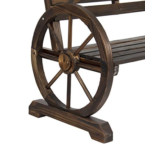 Best Choice Products Patio Garden Wooden Wagon Wheel Bench Rustic Wood Design Outdoor Furniture 0 3