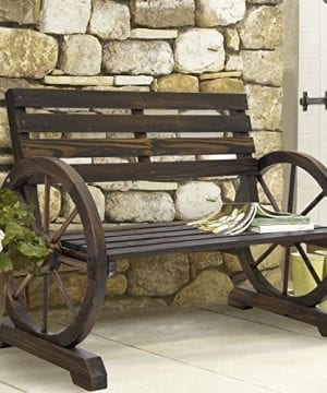 Best Choice Products Patio Garden Wooden Wagon Wheel Bench Rustic Wood Design Outdoor Furniture 0 300x360
