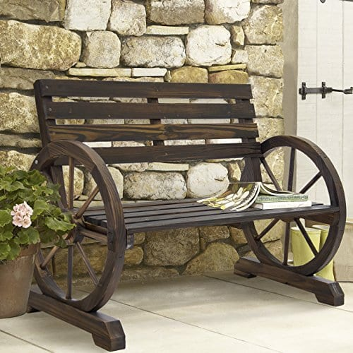 Best Choice Products Patio Garden Wooden Wagon Wheel Bench Rustic Wood Design Outdoor Furniture 0