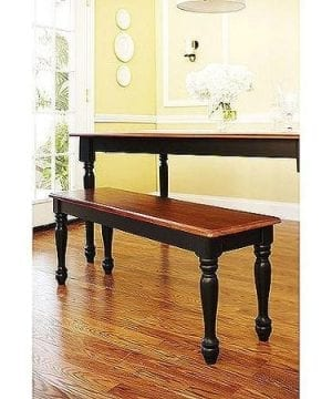 Better Homes And Gardens Autumn Lane Farmhouse Bench Black And Oak Very Easy To Assemble By Better Homes Gardens 0 300x360
