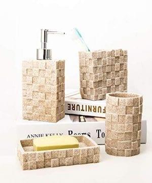 Bigger Decor Advanced Resin Simple Modern Bathroom Accessory Set Matte Texture Full Set Includes 1 Tumbler 1 Toothbrush Holder 1 Soap Dish And 1 Soap Dispenser 0 0 300x360