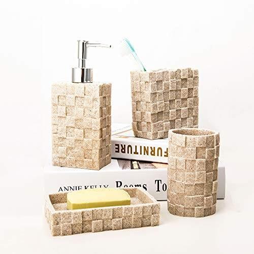 Bigger Decor Advanced Resin Simple Modern Bathroom Accessory Set Matte Texture Full Set Includes 1 Tumbler 1 Toothbrush Holder 1 Soap Dish And 1 Soap Dispenser 0 0