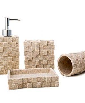 Bigger Decor Advanced Resin Simple Modern Bathroom Accessory Set Matte Texture Full Set Includes 1 Tumbler 1 Toothbrush Holder 1 Soap Dish And 1 Soap Dispenser 0 300x360