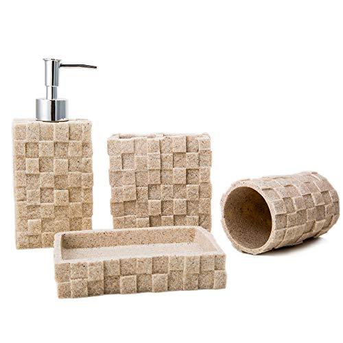 Bigger Decor Advanced Resin Simple Modern Bathroom Accessory Set Matte Texture Full Set Includes 1 Tumbler 1 Toothbrush Holder 1 Soap Dish And 1 Soap Dispenser 0