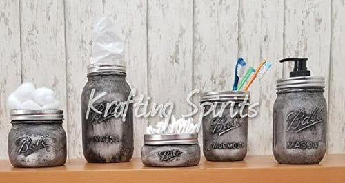 Black Ash Mason Jar Bathroom Set 0