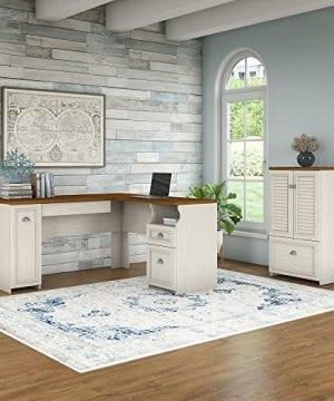 Bush Furniture Fairview 60W L Shaped Desk Storage Cabinet Drawer In Antique White Tea Maple 0 0 300x360