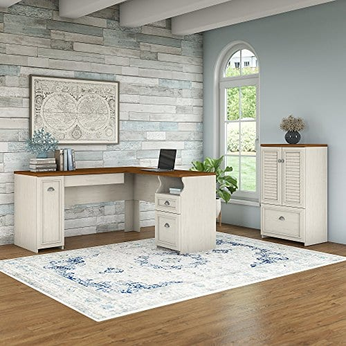 Bush Furniture Fairview 60W L Shaped Desk Storage Cabinet Drawer In Antique White Tea Maple 0 0