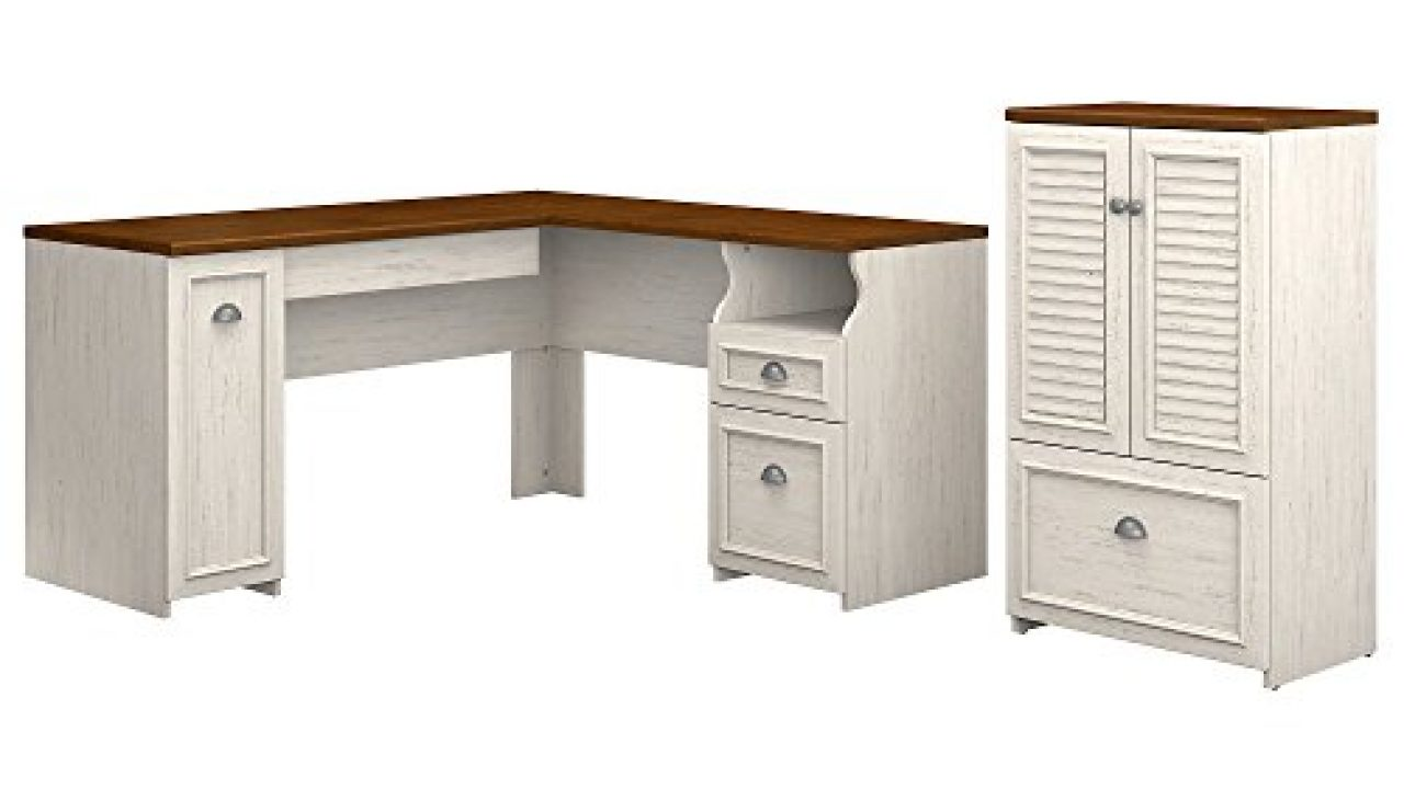 Bush Furniture Fairview 43W L Shaped Desk and Storage Cabinet with Drawer  in Antique White and Tea Maple - Farmhouse Goals