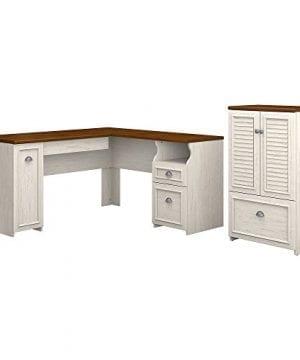 Bush Furniture Fairview 60W L Shaped Desk Storage Cabinet Drawer In Antique White Tea Maple 0 300x360