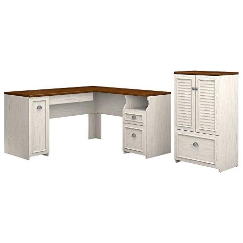 Bush Furniture Fairview 60W L Shaped Desk Storage Cabinet Drawer In Antique White Tea Maple 0
