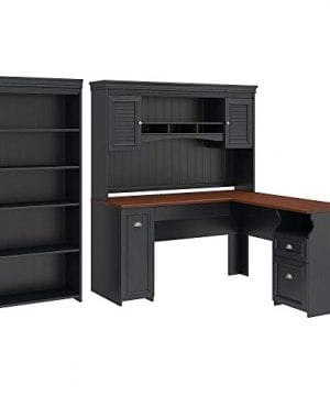 Bush Furniture Fairview L Shaped Desk With Hutch And 5 Shelf Bookcase 0 300x360