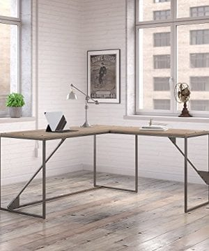 Bush Furniture Refinery 62W L Shaped Desk With 37W Return Bookshelf And File Cabinets In Rustic Gray 0 0 300x360