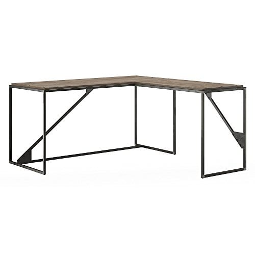 Bush Furniture Refinery 62W L Shaped Desk With 37W Return Bookshelf And File Cabinets In Rustic Gray 0