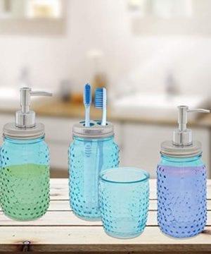 Circleware 4 Piece Mason Jar Hobnail Glass Bath Accessories Set Toothbrush Holder 2 Soap Dispensers Drinking Glass 0 0 300x360